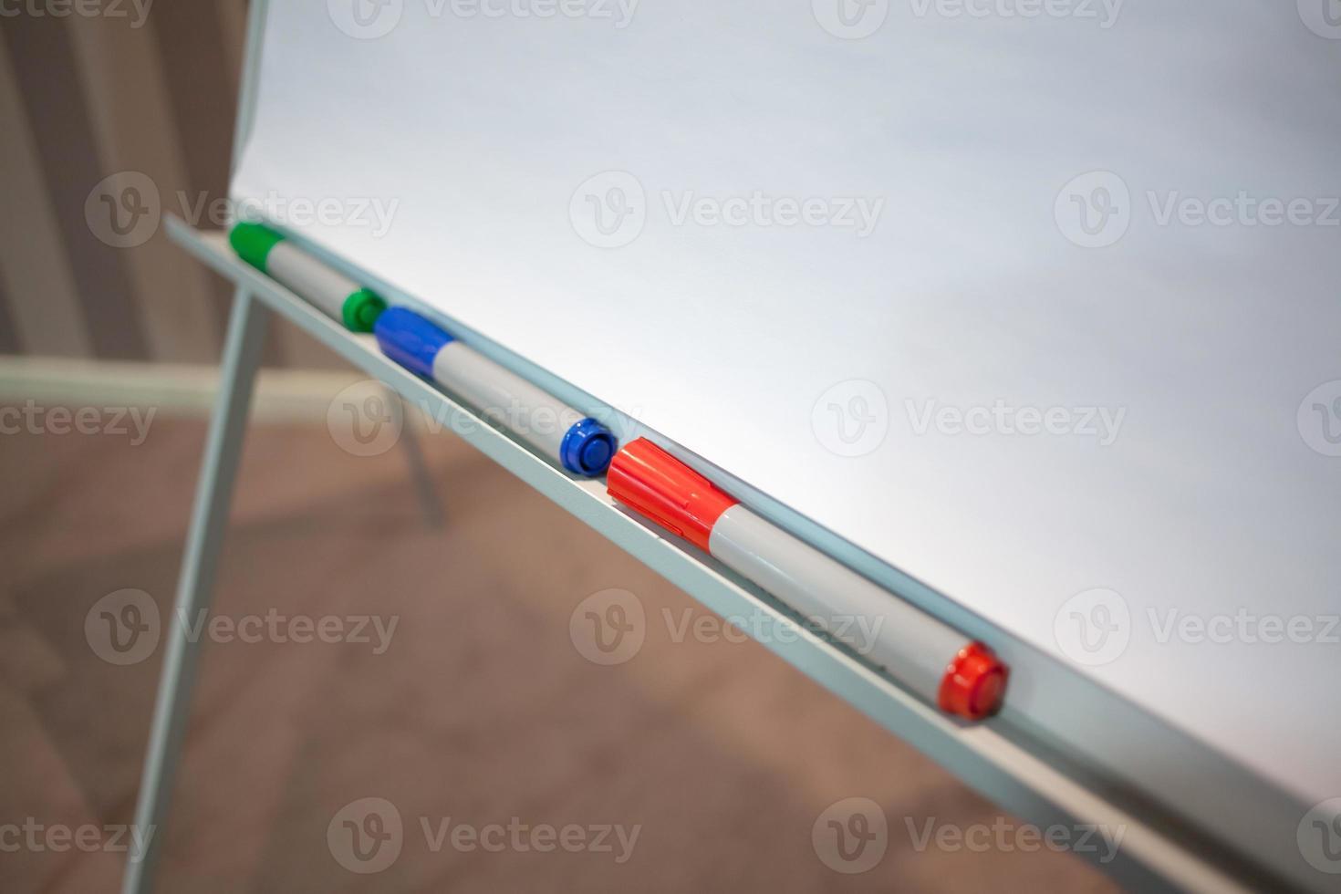 marqueurs et flip chart lors de la présentation photo
