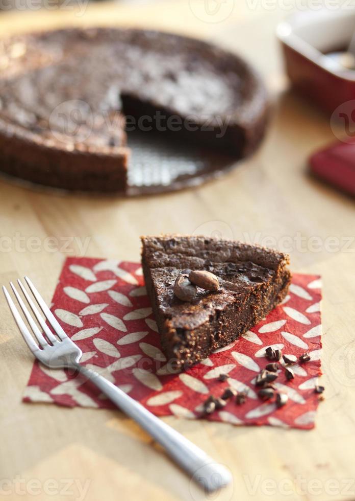 tranche de gâteau au chocolat sans farine photo
