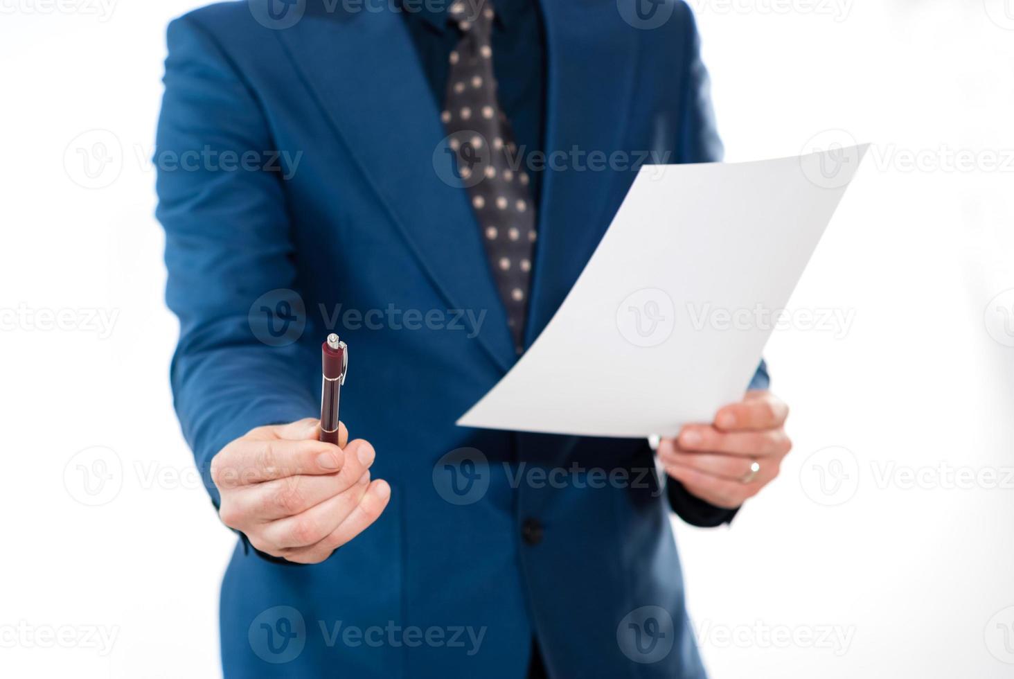 homme affaires, tenue, stylo, contrat photo