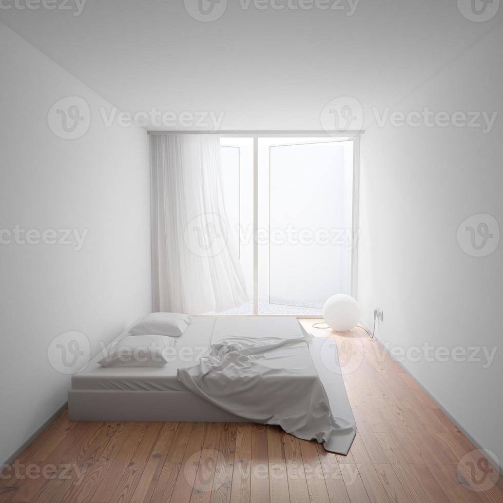 chambre minimale avec lit et lampe photo