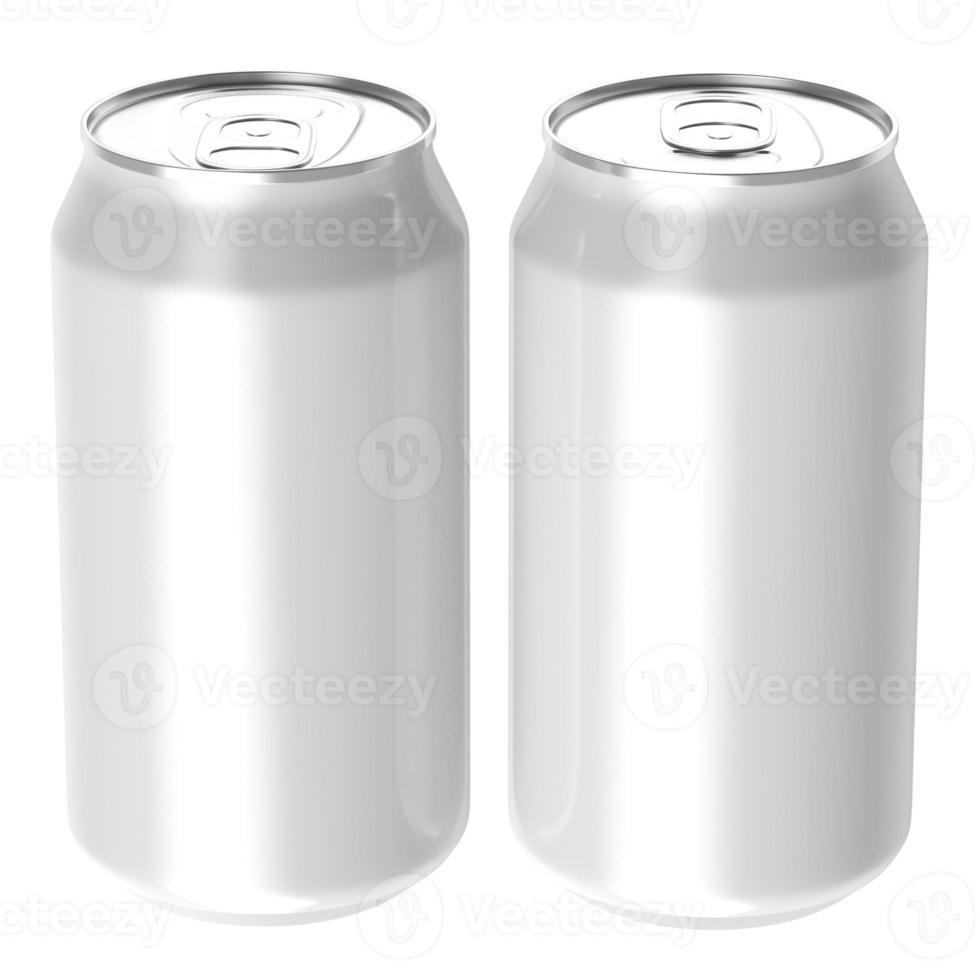 deux canettes de boisson blanche. photo