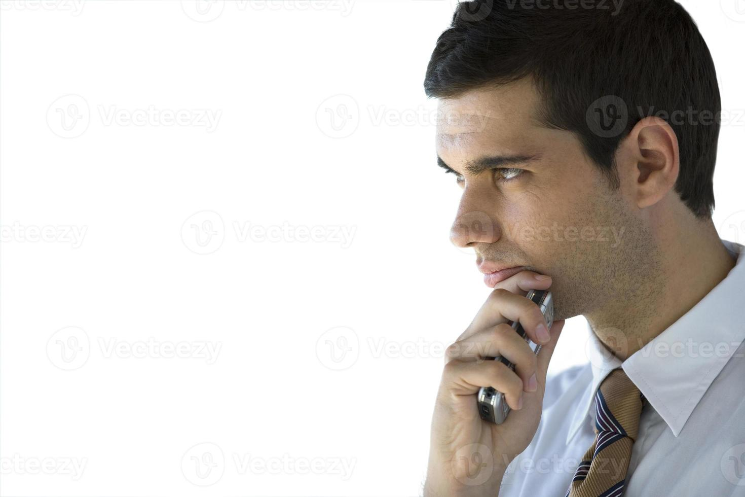 homme affaires sérieux, tenue, téléphone portable, coupé photo
