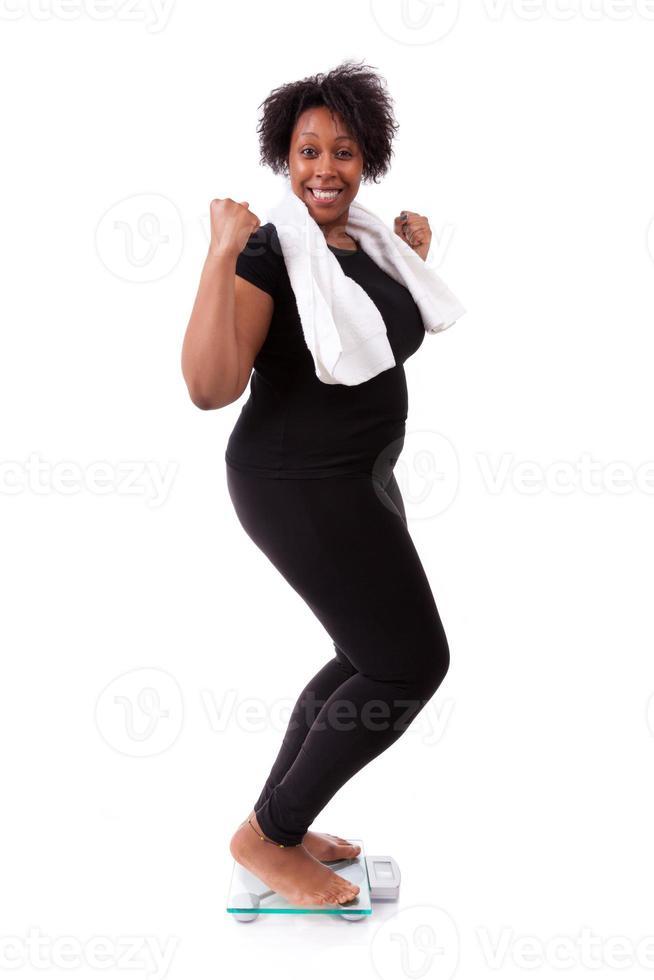 femme américaine africaine, applaudissement, sur, a, échelle photo