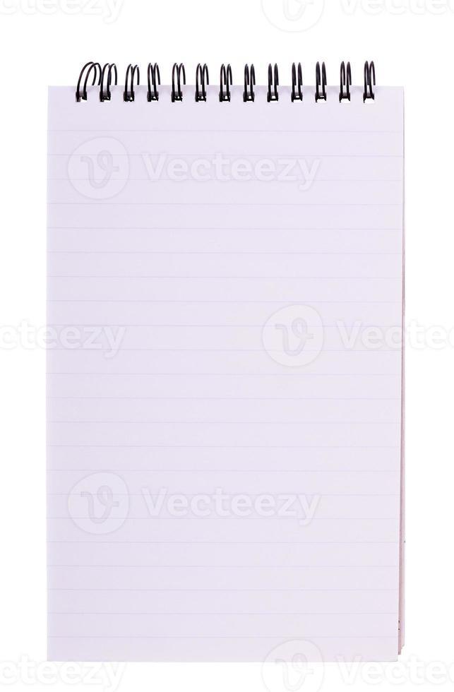 Cahier à spirale ligné, rond isolé sur blanc, espace copie vierge photo