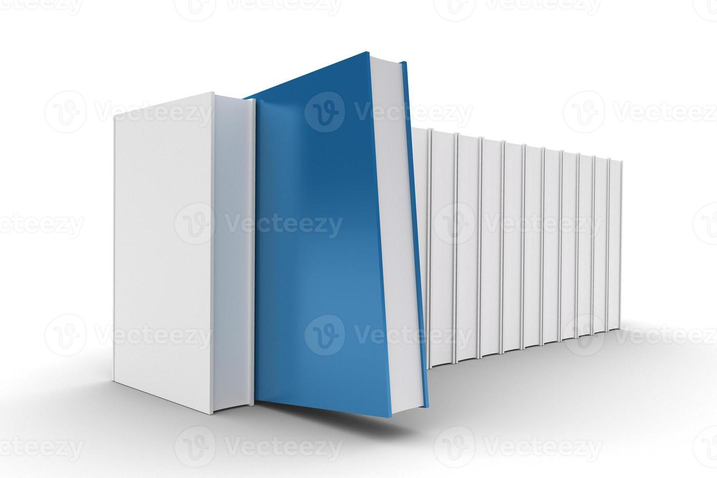 livre bleu sur étagère photo