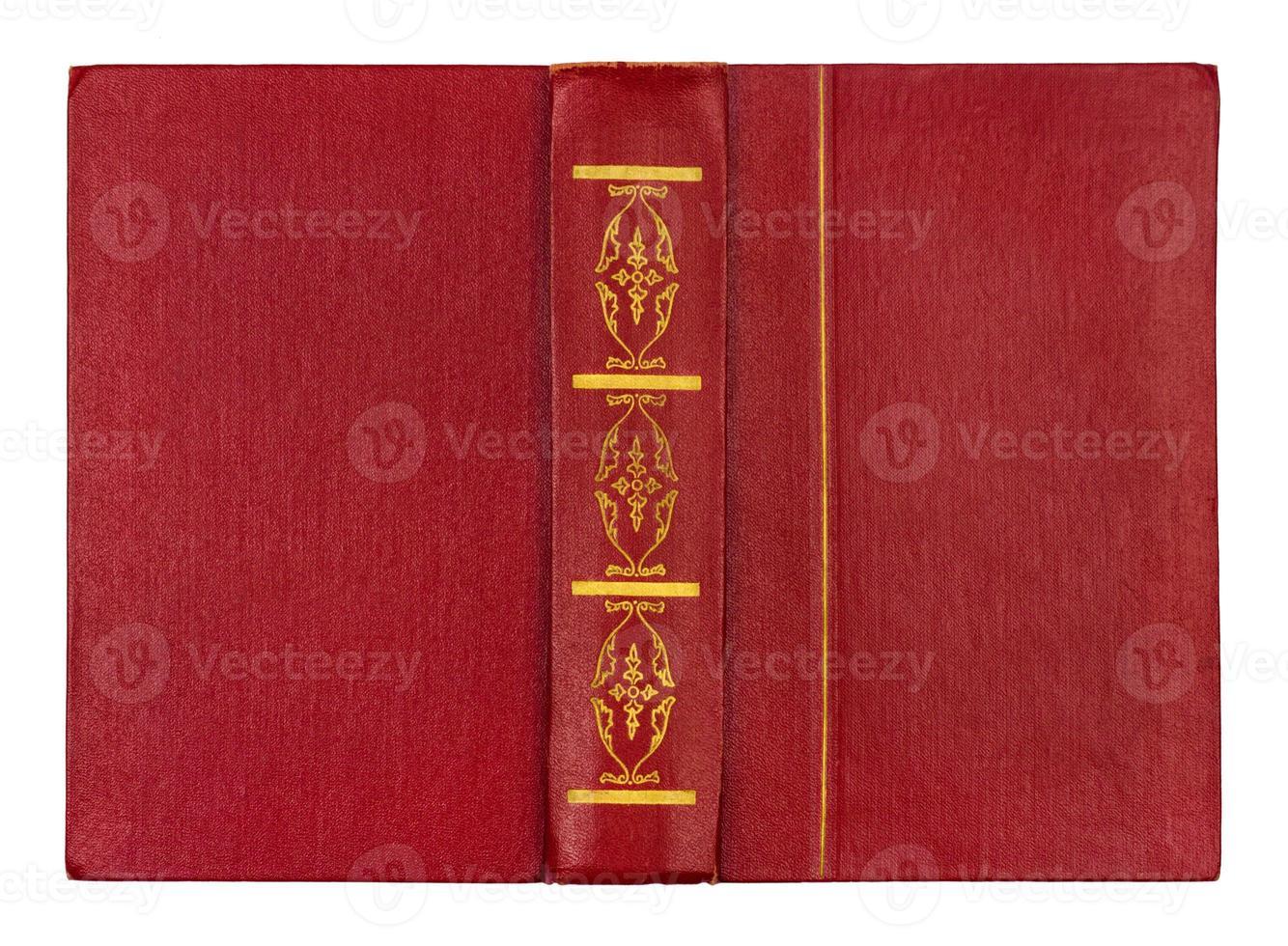 couverture de livre rouge ouvert vide isolé sur blanc photo