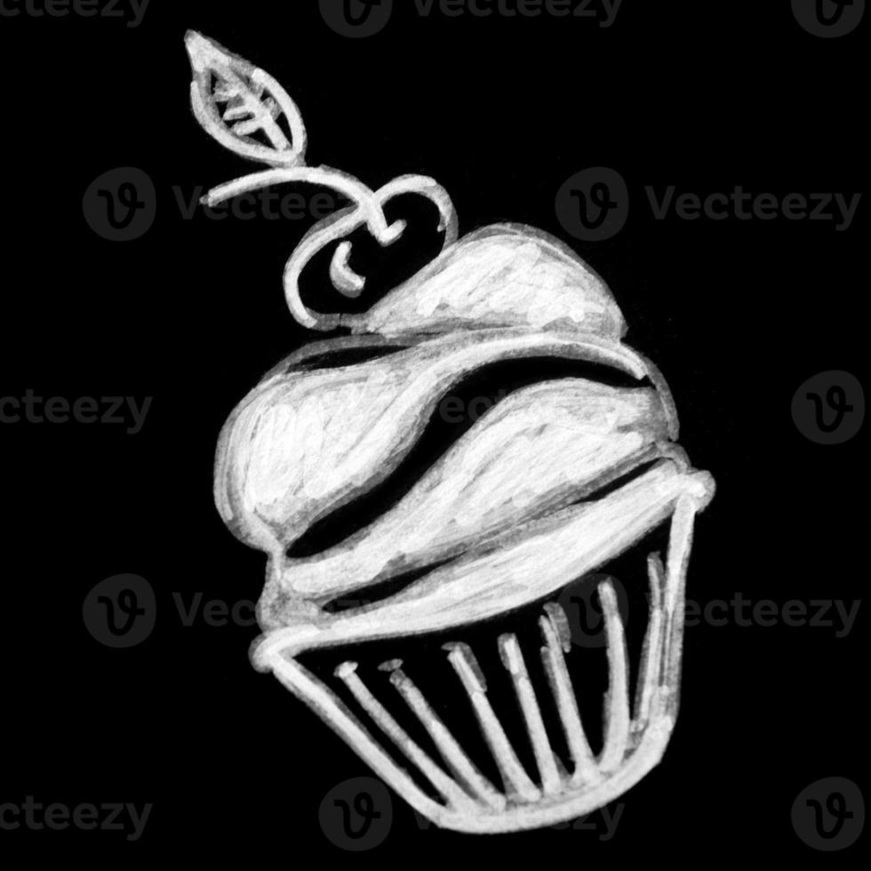 pâtisseries sucrées sur tableau noir photo
