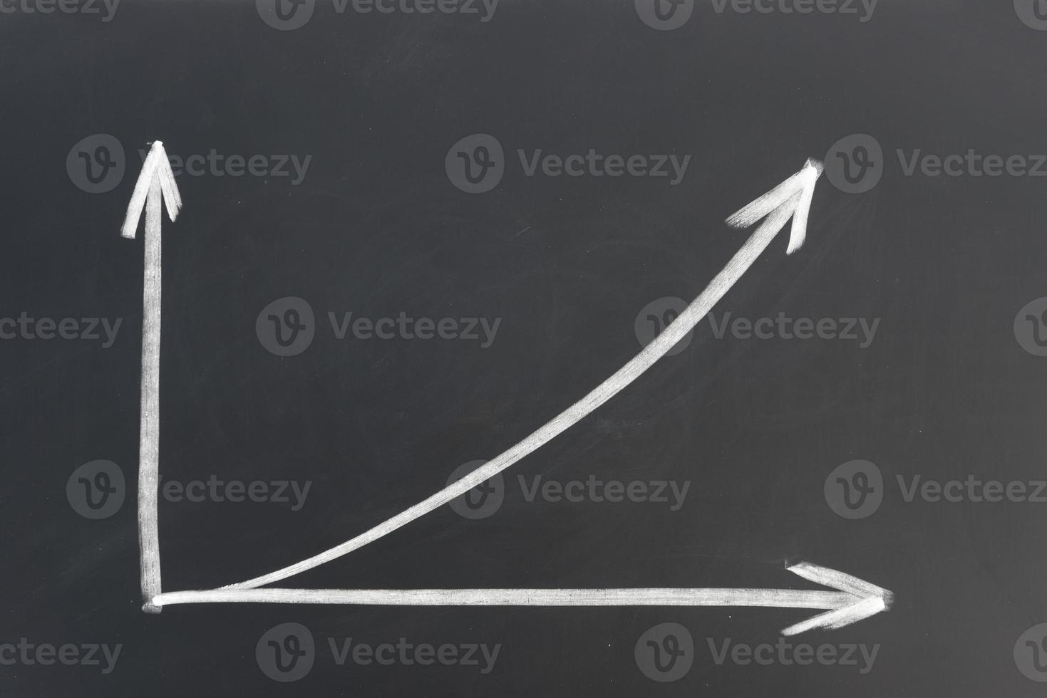 flèche de croissance dessiné à la main sur tableau noir photo