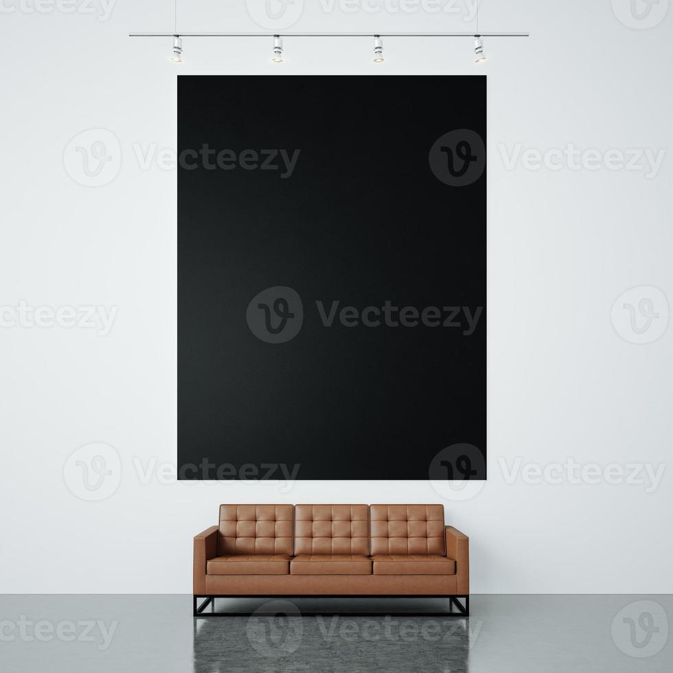 photo de toile vide noire sur le fond du mur blanc