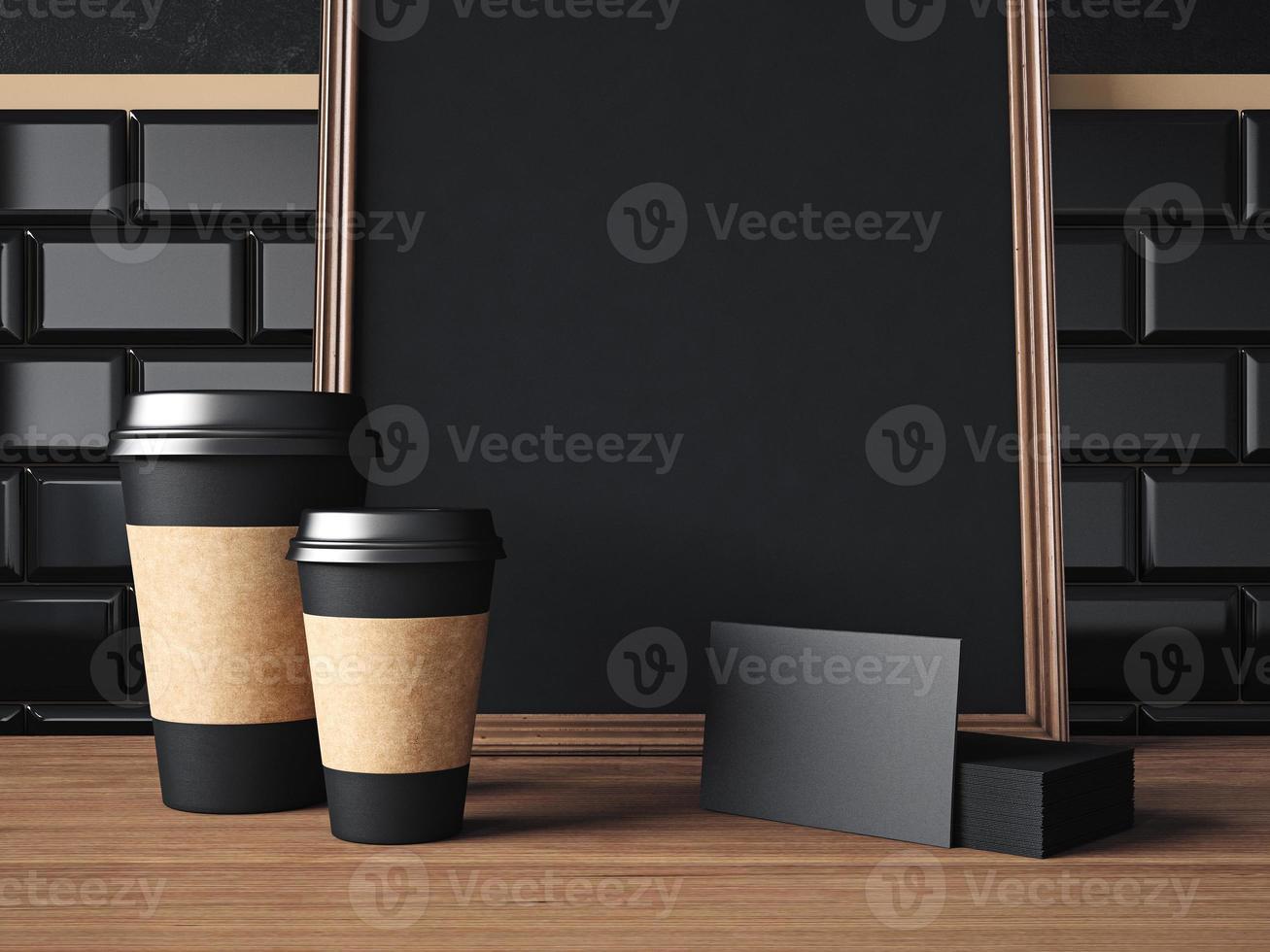 table avec éléments noirs et affiche. Rendu 3D photo