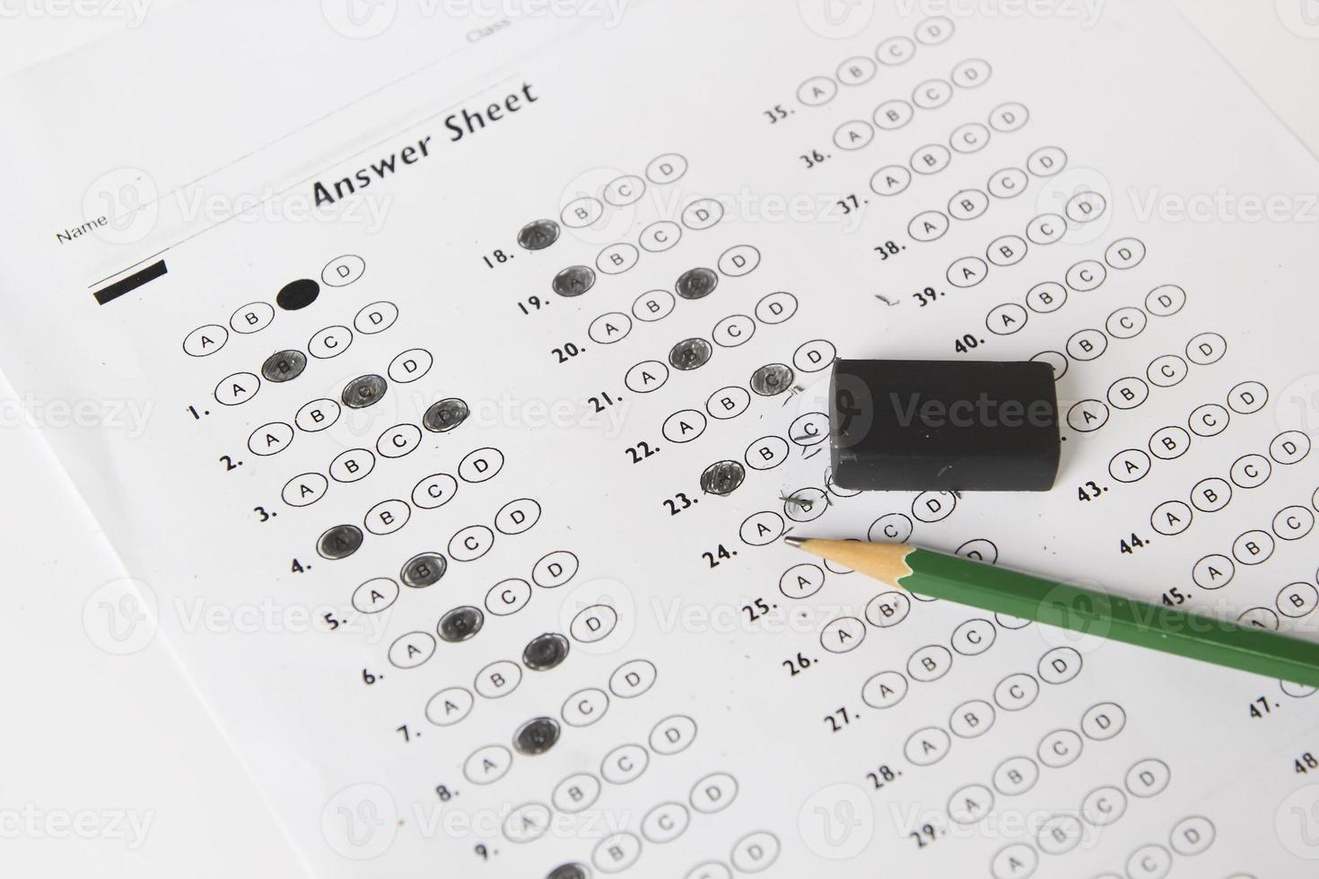 formulaire de test standardisé avec réponses bouillonnant photo