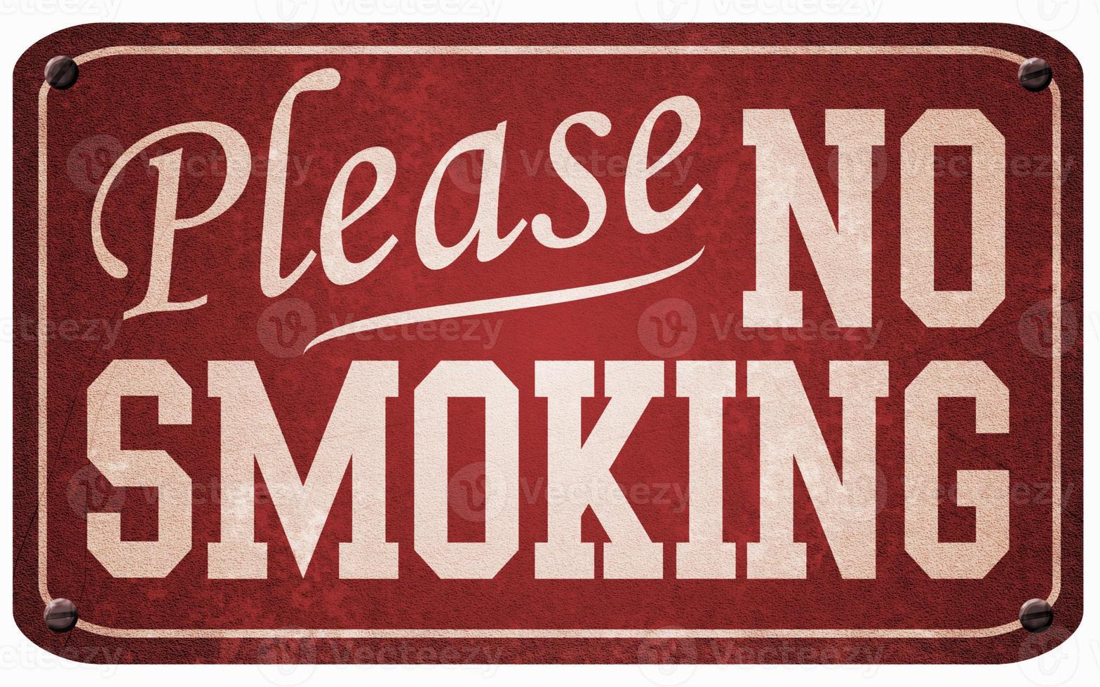 métal rouge et blanc vintage signe non fumeur photo