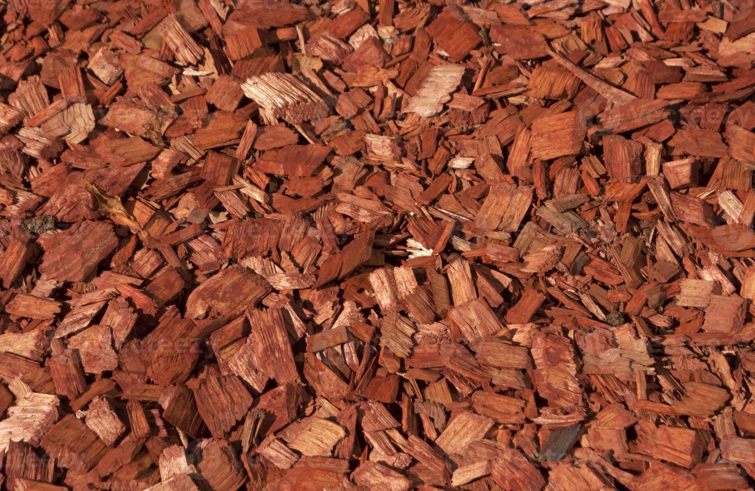 texture de copeaux de bois rouge et orange. photo