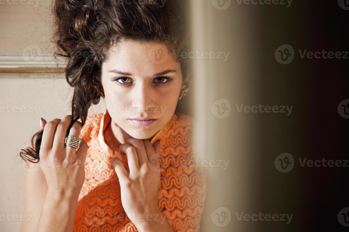 portrait, adolescent, girl, orange, robe photo