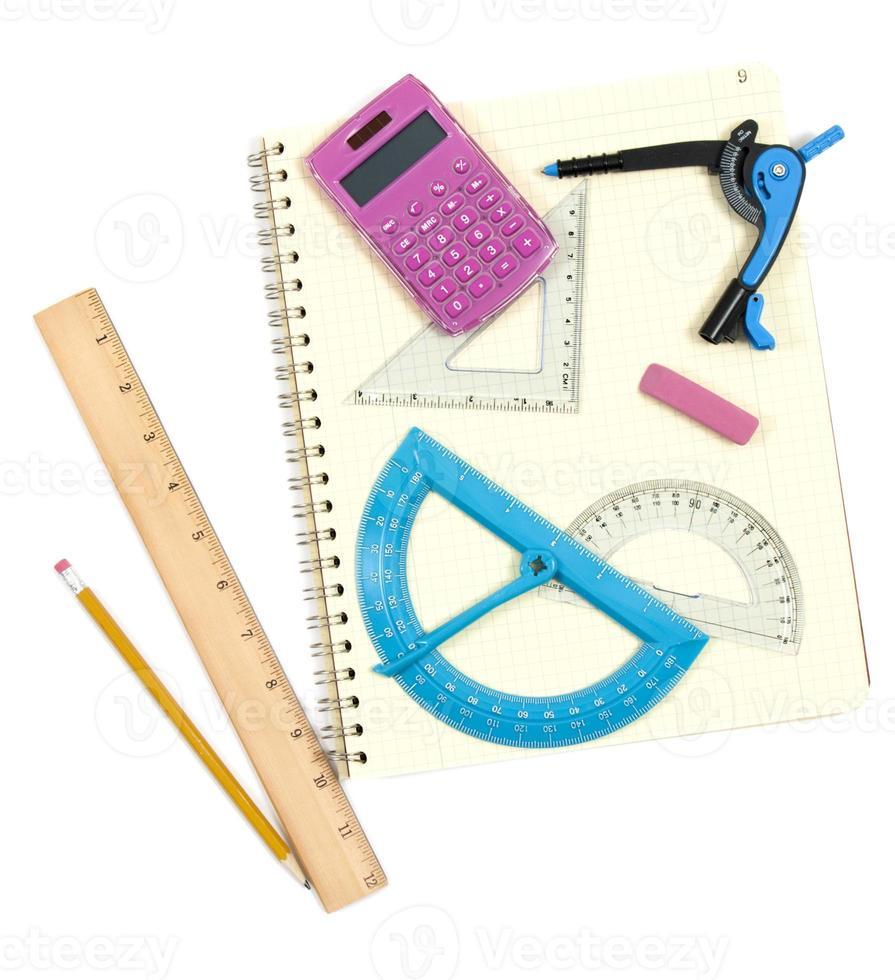 retour aux fournitures scolaires pour les mathématiques photo
