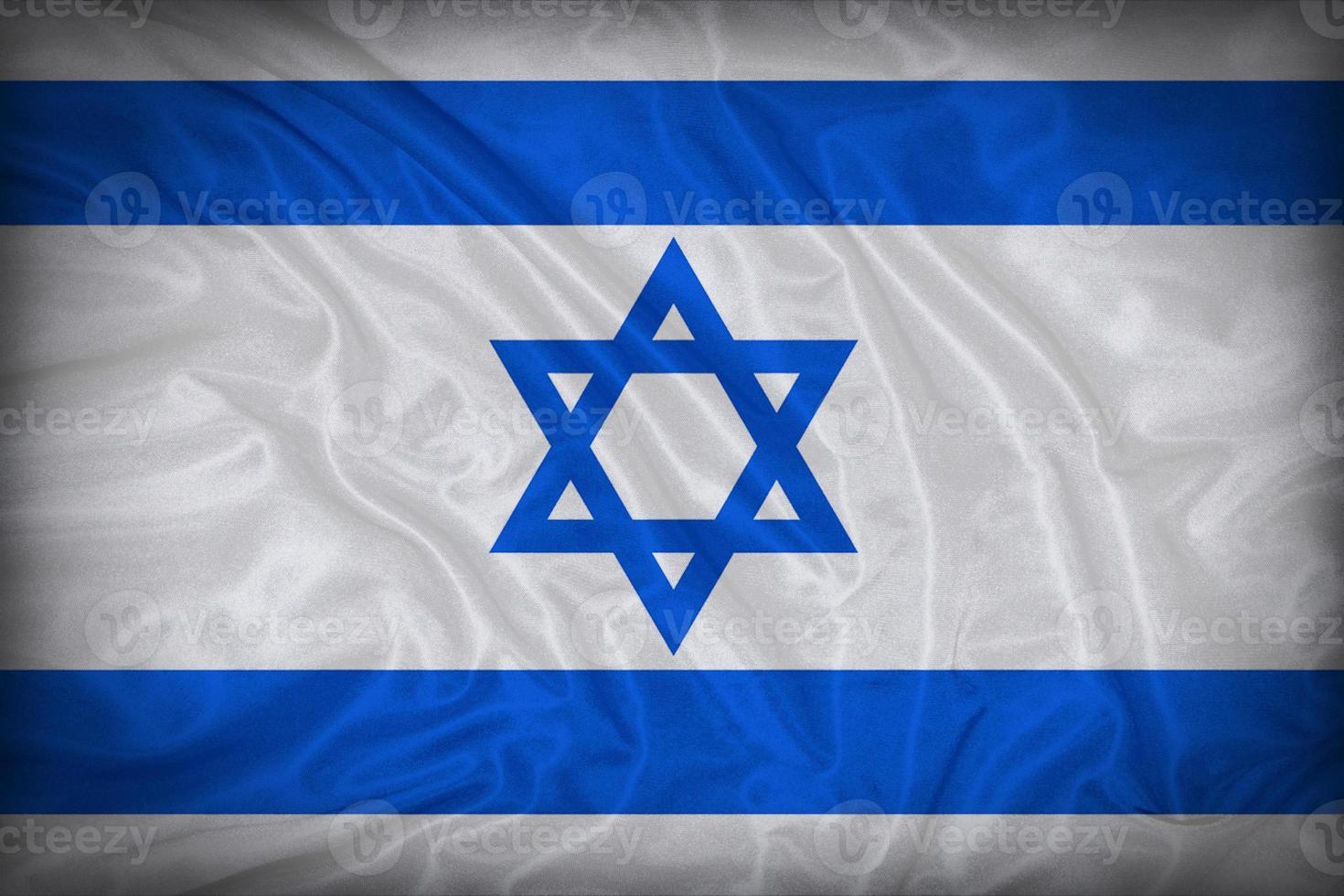 motif de drapeau d'Israël sur la texture du tissu, style vintage photo