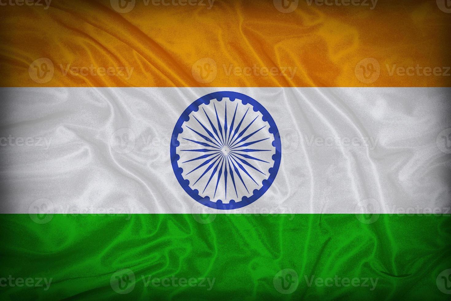 Modèle de drapeau de l'Inde sur la texture du tissu, style vintage photo