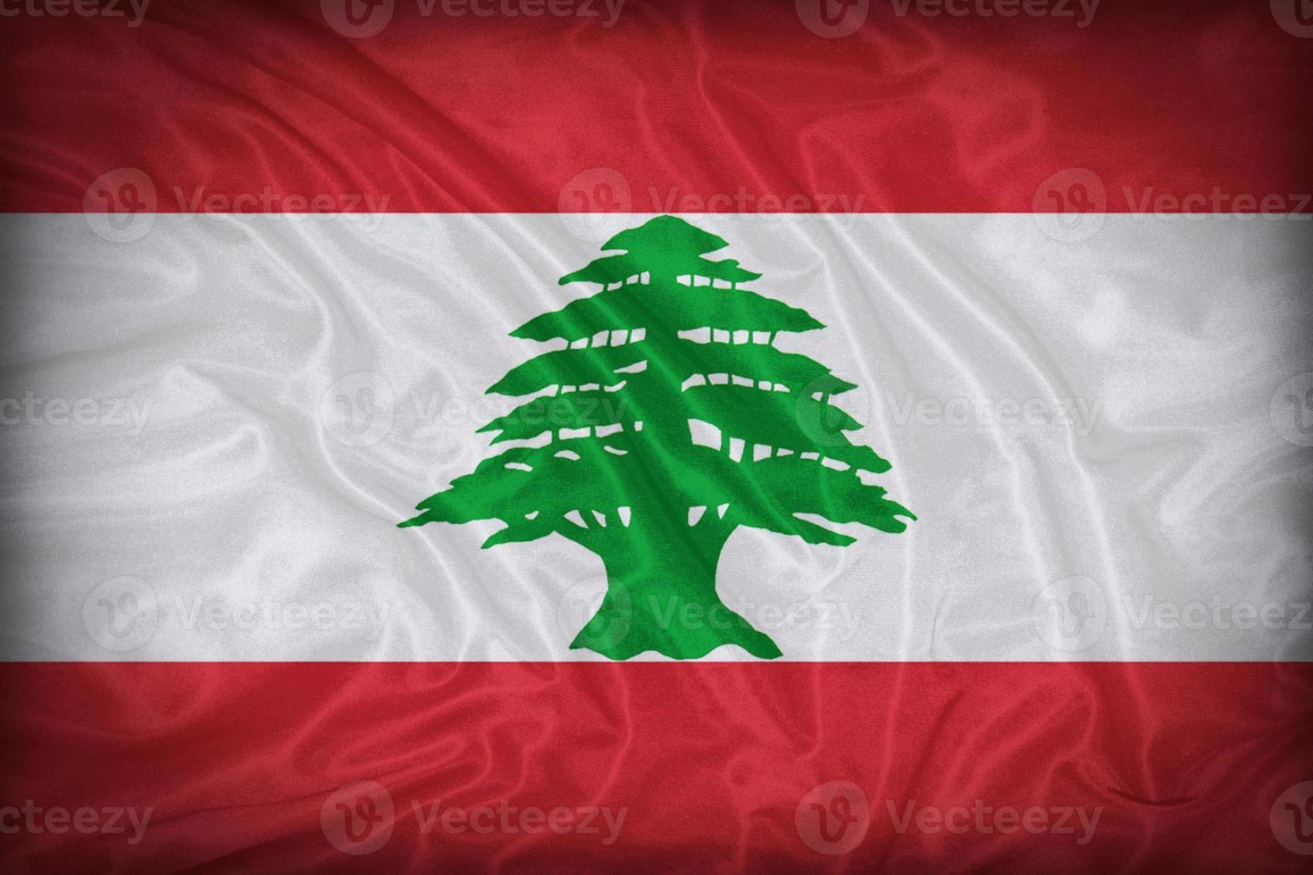 motif de drapeau du Liban sur la texture du tissu, style vintage photo
