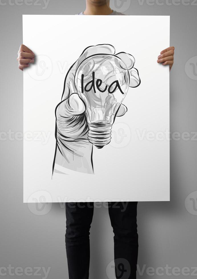 homme, projection, affiche, de, main, dessiné, ampoule photo