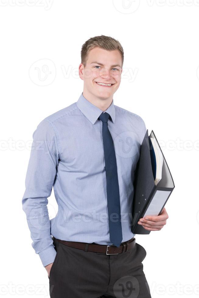 jeune homme souriant avec fichier photo