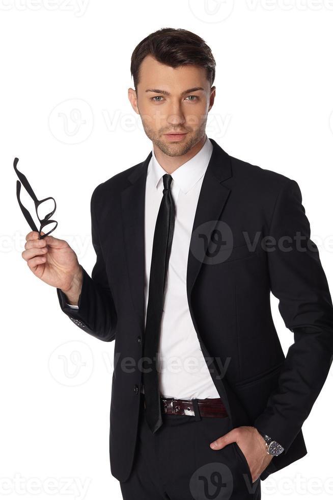 homme affaires, porter, suite, isolé, blanc photo