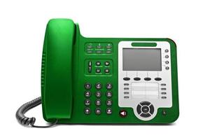 téléphone de bureau ip vert isolé photo