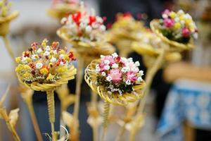 bouquets de palmiers de Pâques lituaniens traditionnels