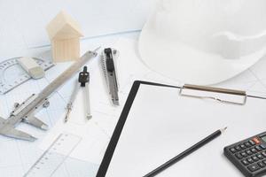 outils de construction concept de projet construction de maisons photo