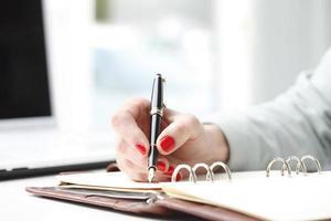femme affaires, écriture photo