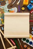 fournitures de peinture et pinceau sur bois photo