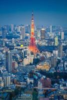 Toits de la ville de Tokyo avec la tour de Tokyo la nuit, Japon