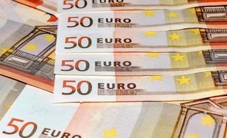 billets en euros, cinquante, gros plan photo