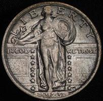 pièce d'un quart de dollar en argent des états-unis