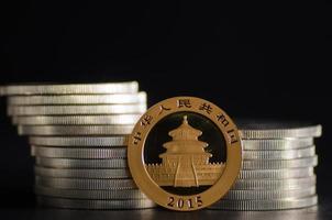 Panda chinois en or devant des pièces d'argent