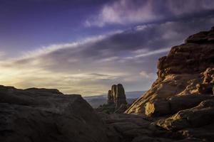 Lever du soleil du désert de Moab photo