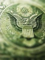 dos d'un billet d'un dollar. photo