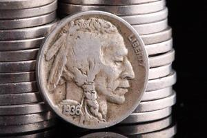 gros plan de 1936 tête indienne nickel buffle