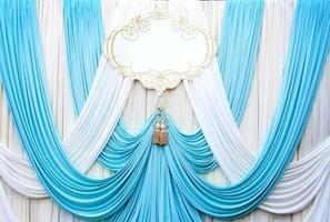 fond de toile de fond rideau blanc et cyans photo