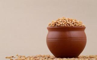 grains de blé dans un pot en argile avec un peu de blé dispersé. photo