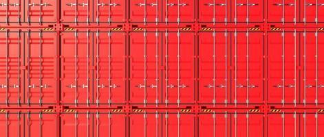 conteneurs d'expédition rouge mur 3d photo