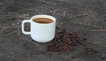 tasse à café et le fond du sol naturel photo