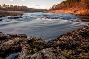 rivière dee, ecosse pêche au coucher du soleil photo