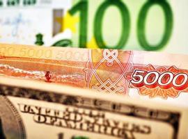 USD, EUR et baknotes de rub russe. mise au point sélective photo