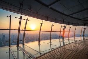 vue aérienne, de, shanghai, paysage, à, crépuscule photo