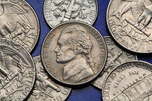 pièces de monnaie des usa. nous nickel, thomas jefferson photo
