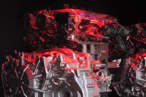 moteur de voiture d'irradiation de lumière rouge de close-up photo