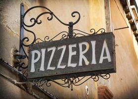 Signe de la pizzeria à Venise Italie photo