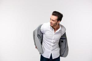 portrait, heureux, homme affaires, habiller, veste photo