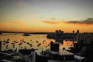 Lever du soleil sur le port de Sydney photo