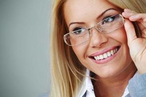 femme affaires, dans, lunettes photo